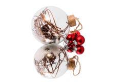 Decorações do Natal refletidas Fotos de Stock Royalty Free