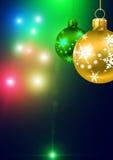 Decorações do ouro da esfera do Natal Fotografia de Stock
