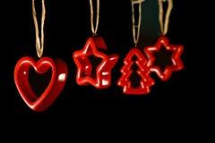 Decorações do Xmas - estrelas e árvore do coração Foto de Stock Royalty Free