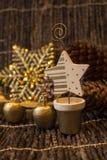 Decorações douradas de um Xmass Imagem de Stock Royalty Free