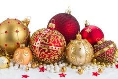 Decorações douradas do Natal Foto de Stock