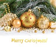 Decorações douradas do Natal Imagens de Stock