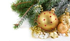 Decorações douradas do Natal Fotos de Stock