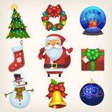 Decorações e ícones do Natal Fotografia de Stock