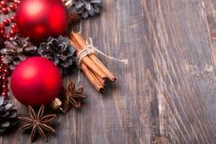 Decorações e especiarias do Natal Foto de Stock
