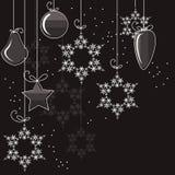 Decorações e flocos de neve de Cristmas Imagem de Stock Royalty Free