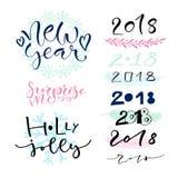 Decorações escritas à mão do cartão do ano novo calligraphic ilustração do vetor