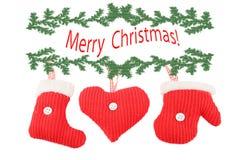 Decorações feitas malha do Natal Fotos de Stock