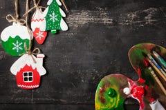 Decorações Handmade do Natal Fotografia de Stock