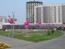 Decorações na cidade - flamingos bonitos Fotografia de Stock
