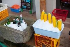 Decorações na loja em Nozawa-Onsen, Japão Yuzawa é popular sobre Hot Springs e a boa neve Nas horas de verão, internacionais foto de stock