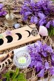 Decorações pagãos com fases da lua, cristais do altar da bruxa, flor fotografia de stock