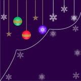 Decorações para bolas do Natal, do Natal e flocos de neve ilustração do vetor