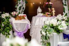 Decorações para uma festa do casamento Fotografia de Stock Royalty Free