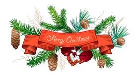 Decorações tiradas mão do Natal Imagem de Stock