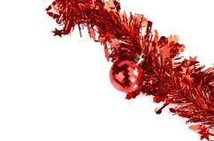 Decorações vermelhas do Natal da bola Fotografia de Stock