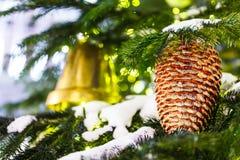 Decorações vermelhas e amarelas do Natal no ramo Fotografia de Stock Royalty Free