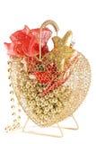 Decorações vermelhas e douradas do Natal Imagens de Stock Royalty Free
