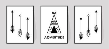Decora??o da parede do ber??rio da tenda ou da tenda no estilo escandinavo Aventura e setas da inscri??o para a tipografia da c?p ilustração do vetor