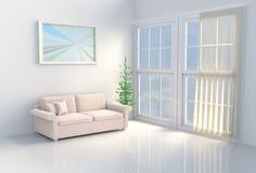Decora??o que morna da sala branca o sol brilha atrav?s da janela nas sombras 3d rendem ilustração royalty free