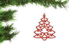 Decoración abstracta en el árbol de navidad. Fotografía de archivo