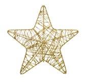 Decoración acentuada de la Navidad de la estrella del oro cinco Foto de archivo libre de regalías