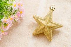 Decoración acentuada de la Navidad de la estrella del oro cinco Fotos de archivo libres de regalías