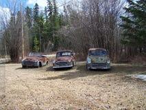 Decoración aherrumbrada vieja de tres coches en la yarda Imagenes de archivo