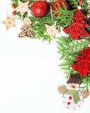 Decoración aislada, fondo blanco para los saludos de la postal, diseño de la Navidad del juguete en vintage macro de Navidad del  Fotografía de archivo
