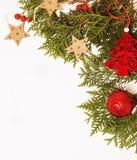 Decoración aislada, fondo blanco para los saludos de la postal, diseño de la Navidad del juguete en vintage macro de Navidad del  Imagen de archivo libre de regalías