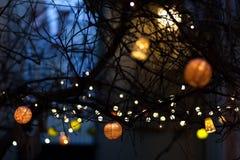 Decoración al aire libre del árbol del ` s del Año Nuevo Fotos de archivo