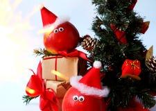 Decoración alegre de la Navidad con las manzanas Foto de archivo