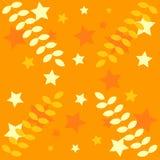 Decoración anaranjada: estrellas, hojas Fotografía de archivo