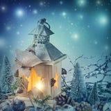 Decoración ardiente de la linterna y de la Navidad Foto de archivo