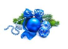 Decoración azul azul de la Navidad y del Año Nuevo Fotografía de archivo libre de regalías