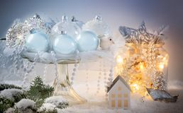 Decoración azul de la Navidad Fotografía de archivo libre de regalías