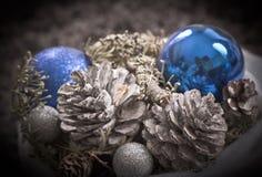 Decoración azul de plata de la Navidad Imagen de archivo libre de regalías