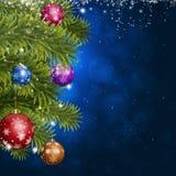 Decoración azul del abeto de la Navidad Fotos de archivo