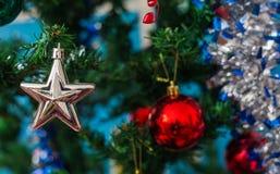 Decoración blanca de la estrella de la Navidad en un árbol de pino verde con vagos rojos Foto de archivo libre de regalías