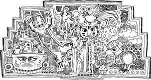 Decoración blanco y negro del maya Fotografía de archivo libre de regalías