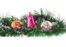 Decoración-bolas del Año Nuevo, malla verde Fotos de archivo