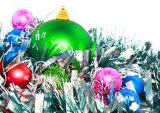 Decoración-bolas del Año Nuevo, malla verde Imágenes de archivo libres de regalías