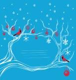 Decoración cardinal del brunch del pájaro de la Navidad Imagen de archivo
