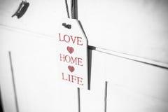 Decoración casera de la muestra de la vida del amor Foto de archivo