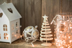 Decoración casera de la Navidad Imagen de archivo libre de regalías