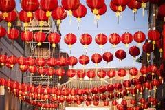 Decoración china de la linterna del Año Nuevo de la calle Fotografía de archivo
