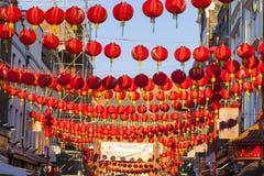 Decoración china de la linterna del Año Nuevo de la calle Imagen de archivo