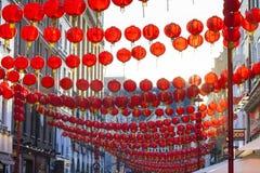 Decoración china de la linterna del Año Nuevo de la calle Fotos de archivo