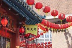 Decoración china de la linterna del Año Nuevo de la calle Foto de archivo libre de regalías