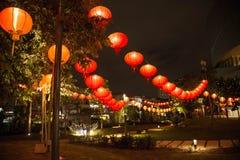 Decoración china de las linternas del Año Nuevo en parque Fotografía de archivo libre de regalías